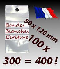 LOT 100  sachets  plastique zip 3 bandes 80x120 8x12