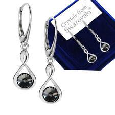 925 Sterling Silver Stud Earrings Rivoli Jet Black 6mm Crystals From Swarovski