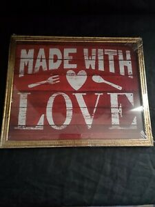 Made with Love Hanging Wall Art Farmhouse Country Rustic Home Decor 8x10 Print