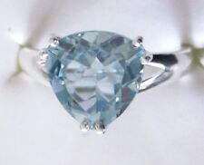 Sky Blue Topaz Solitaire Ring in Sterling Silver, size 5 -- 3.65 cts