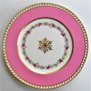 Antique Vintage Cauldon Pink Gold Floral English Plate 23cm wide c.1910