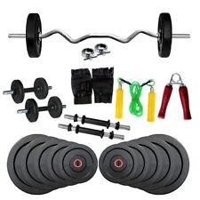 """Fitfly Efficient 20 Kg Home Gym Set 3 Ft Ez Curl Bar 14"""" Dumbbells Rods Gloves"""
