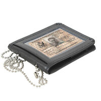 Black Leather Bi-Fold ID Holder & Neck Chain Clear PVC Pocket Wallet
