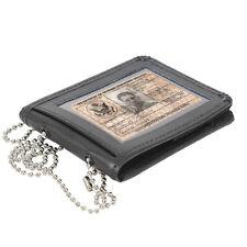 Black Leather Bi-Fold ID Holder & Neck Chain Clear PVC Pocket Wallet
