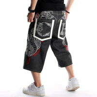 Mens Jeans Shorts Denim Capri Pants Hip-Hop Embroidery Snake Black W30-W44
