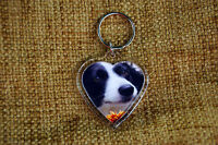 Border Collie Keyring Dog Key Ring heart shaped Birthday Gift Mothers Day Gift