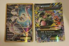Lot 2 Cartes Pokémon Ultra Rares Méga Tyranocif Ex + Mewtwo Ex FULL ART, FR TBE
