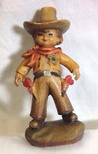 "Anri Cowboy 3"" Vintage Ferrandiz Hand Carved Maple Figures"