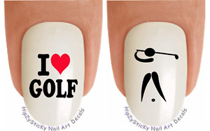 Nail Art 3007 SPORTS I love Golf #1 Waterslide Nail Decals Transfers Stickers