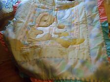 Bunny Baby Quilt Glitter Colored Fabric and Ruffles