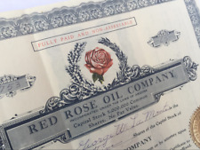 Stock Certificate Red Rose Oil Company 1932 VF condition - 122