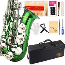 Eb Alto Saxophon w/11reeds 8 Pads Strap Case Care Kit - Green/Silver Keys