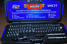 "77 Pc. Half Cut Stubby Bit Set w/ 1/4"" x 5/16"" Bit Ratchet Wrench  VIM VHC77"