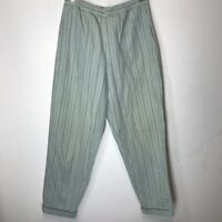 Chico's Knit Pants Light Blue Stripe Elastic Waist Sz 0 Small Pockets
