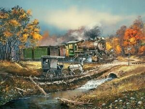 Jigsaw Puzzle Train Steam Locomotive and Amish Wagon 750 pieces NEW Made in USA