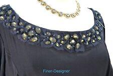 Hilton Hollis 100% silk blouse top shirt shabby mesh bead gem L/S SZ 12 New $495