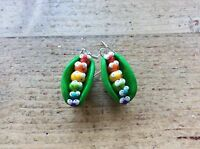 Gay Pride Earrings Rainbow Lesbian LGBT Handmade Pea Pod Cute Nickel Free