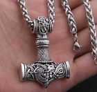 New Mens Stainless Steel Norse Viking Thors Hammer Mjolnir Pendant Necklace photo