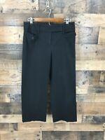 Ann Taylor Loft Women's Black Flat Front Cropped Pants Size 8