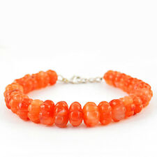 218.00 CTS NATURAL ROUND SHAPED CARVED RICH ORANGE CARNELIAN BEADS BRACELET