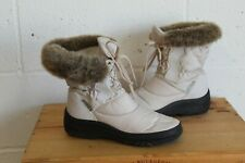 BEIGE FAUX FUR TRIM MID CALF BOOTS SIZE 4 / 37 BY PAVERS GOOD WORN CONDITION