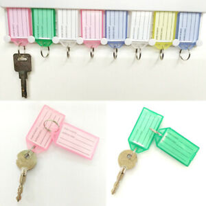 1/4 PCS Plastic Key Tags Container Key Labels with Ring &Label Window 4 Colors