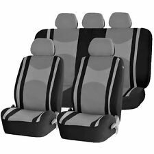 6pc Gray & black honeycomb mesh seat covers & split bench