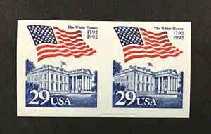 US 1992 XF MNH SC#2609a 29 c Flag over White House. Imperf Pair Error (W7)