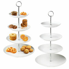 4 Tier Layer White Ceramic Cup Cake Food Stand Round Centrepiece Wedding Serving