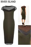 RIVER ISLAND Ladies Khaki Green with Black Mesh Stretch Bodycon Midi Dress 6-16
