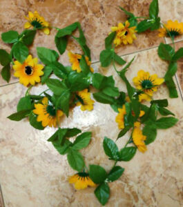 Artificial Sunflower Wreath Hanging Door/Wall Garland Ring Home Party Decor US