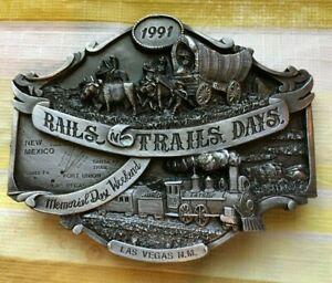 """Belt Buckle """"Rails 'N Trails Days,""""1991, ltd ed 238/350. Fits 1 1/2""""-1 3/4"""" belt"""