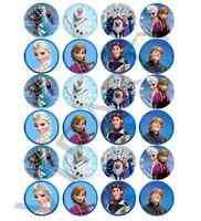 24 x Large Frozen Edible Cupcake Toppers Birthday Party Cake Decoration