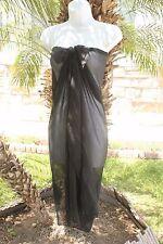 Sheer Sarong SOLID BLACK Soft Beach Bikini Swimsuit Coverup Wrap Skirt Dress