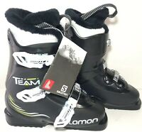 NWT's Salomon Team T3 Youth Downhill Ski Boots Size 22 Black White 266MM Size 4
