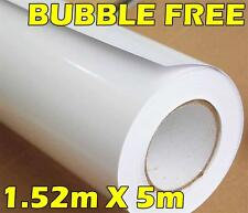 Rollo de Vinilo Premium Blanco Brillante Completo Envoltura Coche Vehículo 1.52M X 5M sin burbujas