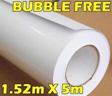 PREMIUM GLOSS WHITE VINYL ROLL FULL CAR VEHICLE WRAP 1.52M X 5M BUBBLE FREE