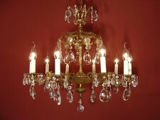 2 CROWN 10 LIGHT BRASS FRENCH CRYSTAL CHANDELIER  VINTAGE LAMP OLD ANTIQUE