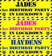 2 BIRTHDAY LOCKDOWN QUARANTINE  PARTY BANNERS  NAME & AGE CHOICE OF COLOURS