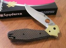 SPYDERCO New Carbon Fiber Handle Schempp Design Folding Bowie Knife/Knives