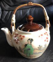 Porcelain Japanese  Style Teapot, Geisha Girl  Bamboo Handle 5 Inch Foreign