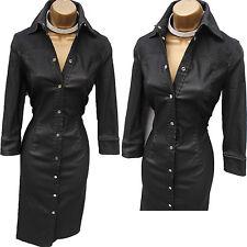 Karen Millen Black Denim Look Beaded Safari Trench Shirt Pencil Dress 10 UK 38