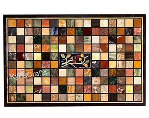36 x 60 Inches Marble Dining Table Top Geometric Pattern Patio Table for Decor