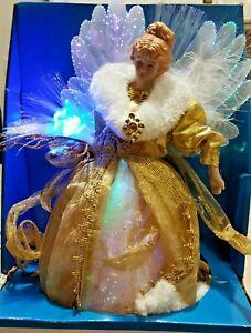 "12"" Color Changing LED Fiber Optic Christmas Angel Tree Topper w/Gold Dress"