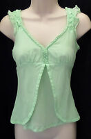"""ANTHROPOLOGIE FEI"" SPRING GREEN SEMI-SHEER CAREER CASUAL SHIRT BLOUSE SIZE: 4"