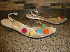 """Vintage BOB BAKER Clear With Colorful Polka Dots Womens Shoes 2"""" Lucite Heels"""