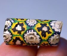 Antique Venetian Multiple Cane Italian Millefiori Green & Yellow Glass Bead