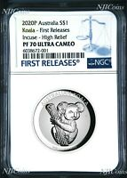 2020 Australia FIRST INCUSED HIGH RELIEF 1oz Silver Koala $1 Coin NGC PF70