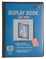 12 x A4 Premium Black Cover Display Book Presentation Folder Portfolio - 20 pkt
