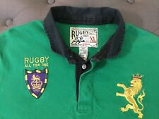 RARE VTG Rugby Ralph Lauren Long Sleeve Green Polo LION CREST RUGBY PATCH XL